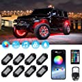MustWin RGB LED Rock Lights 120 LEDs Multicolor Underglow Neon Lights Waterproof Aluminum Light Kit with RF/APP Control Music Mode Timing Function for Truck Jeep Off Road Car UTV ATV SUV 8 Packs