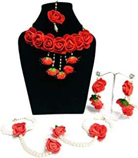 d61c5f3c91f1c9 Shivi Jewels Flower Gota Patti Jewellery with Necklaces, Earrings,  Bracelets and Maang Tika for