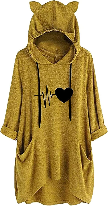 Women Hooded Tops Casual Luxury Cute Max 90% OFF Sweatshirt Print Nec Fashion Round
