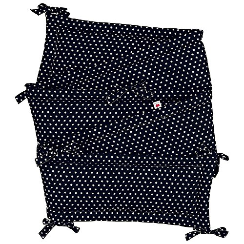 Sugarapple Rundum Nestchen, Bettnestchen & Bettumrandung in dunkelblau mit weißen Sternen, Länge 420 cm für Baby & Kinderbetten, 100% Baumwolle, Oeko Tex 100, Made in Germany