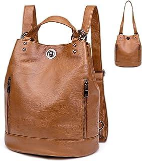 Keppmerh Damen Leder Rucksack Elegant - Lederrucksack Wasserdicht 2 in 1 als Fashion Backpack und Schultertasche Bucket Bag, Daypack Leichte Große Mode Passend für Laptop, Bag für Arbeit Schule Reise braun