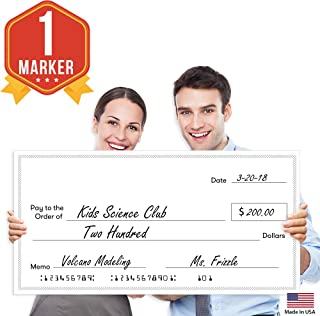 "Giant Fake Award Presentation Check - 16"" x 32"" - Large Novelty Endowment Check for Endowment, Donations, Fundraiser - Big Blank Oversized Raffle Sweepstakes Reward Winners Check (Striped Borders)"