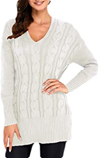 Womens Fashion Chunky Kniited Sweater Pullover V Neck Loose Jumper Tops