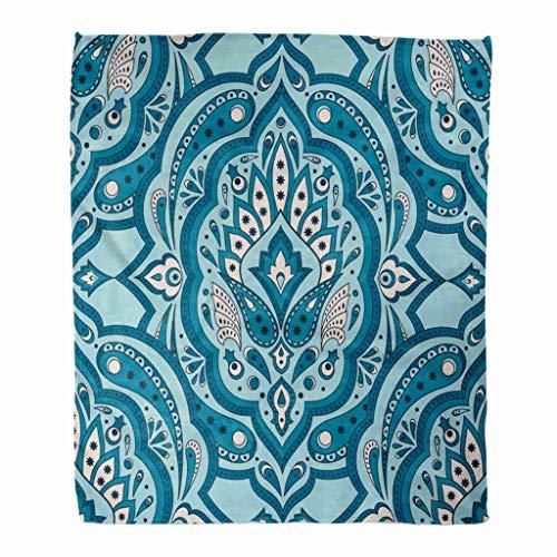 Hirkeld Throw Blanket Flanell Floral Indian Paisley Vintage Flower Ethnic für Batik Mikrofaser Print Weiche Gemütliche Warme Faltenresistente Couch Bed Throws Sofa