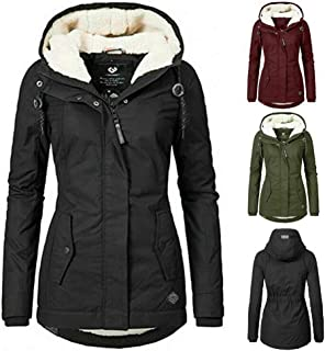 Women`s Warm Coat Jacket Outwear Fur Lined Trench Winter Hooded Parka Overcoat, Hoodie Parkas Mid Length Thick