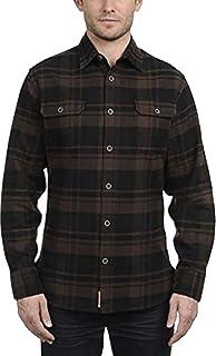 Jachs Men's 9oz Cotton Flannel Brawny Flannel Shirt Button Down Brown/Black, Large