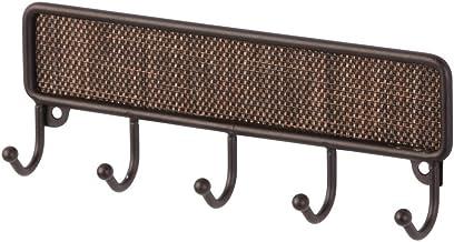InterDesign Twillo Ganchos para colgar llaves, porta llaves de pared pequeño con 5 ganchos de metal y plástico, ganchos para el baño, color bronce