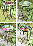Iron/Glass Round Mosaic Design Side Table Garden Outdoor Patio Flower Plant Stand