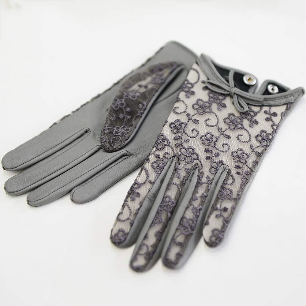Jamkf Ladies Spring and Autumn Thin Leather Gloves, Stylish Lace Bow Touch Screen Gloves, Comfortable As Soft, Black
