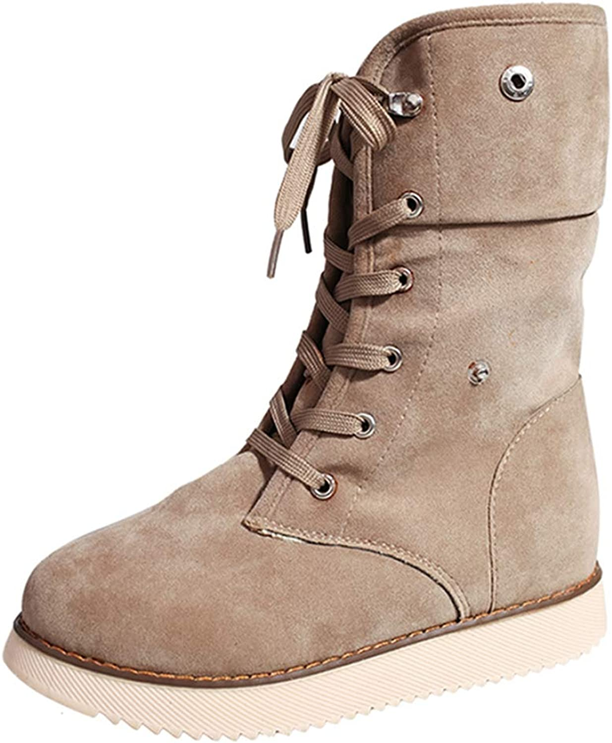 Women's Fashion Suede Lace Up Cross Tied Waterproof Winter Mid Calf High Snow Boots