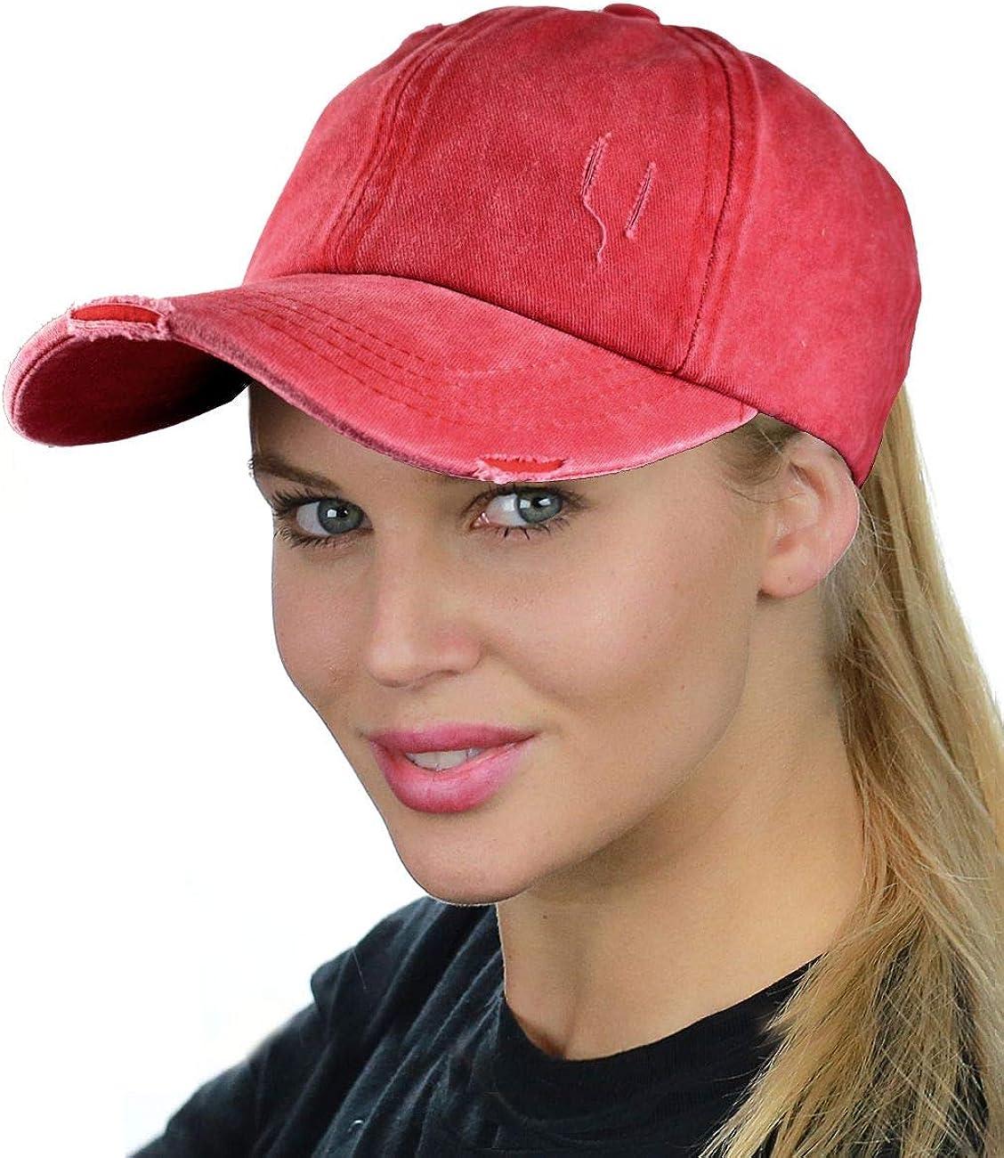 C.C Ladder Style Ponycap Adjustable Ponytail Distressed Washed Denim Baseball Cap