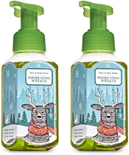 Bath and Body Works 2 Pack Winter Citrus Wreath Gentle Foaming Hand Soap 8.75 Oz. Travel Size Body Cream 1 Oz.