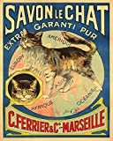 Soap Savon Chat Cat Africa Asia America Europe France French 16' X 20' Image Size Shipped Rolled Vintage Poster Reproduction we Have Other