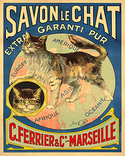 """Soap Savon Chat Cat Africa Asia America Europe France French 16"""" X 20"""" Image Size Shipped Rolled Vintage Poster Reproduction we Have Other"""