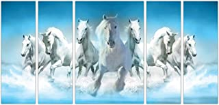 Art Amori Seven horse running vastuset of 5 MDF Painting Multicolour 12x18 Inch - 1 Piece + 6x18 Inch-4 pieces for Wall Pa...