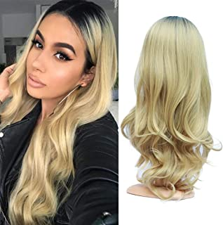 Fani Wigs Ombre Wigs for Women Black to Blonde Color Long Wavy Dark Roots Middle Part Synthetic Full Wig Cosplay Daily Party Wigs with Free Wig Cap(Black/Blonde)