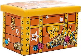 PPCP Storage Box Folding Can Sit Fashion Storage Box PU Waterproof Storage Box (Color : Yellow)