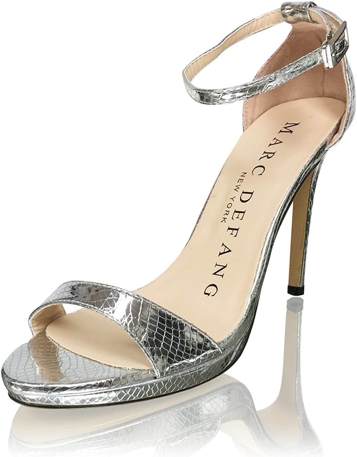 Marc Defang New York Women's Patent Leather 4  Sandal Heels with 1 2 Platforms