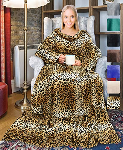 """Leopard Wearable Fleece Blanket with Sleeves for Adult Women Men, Super Soft Comfy Plush TV Blanket Throw Wrap Cover for Lounge Couch Reading Watching TV 73"""" x 51"""""""
