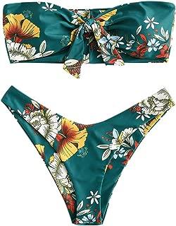 ZAFUL Women's Floral Print Bandeau Bikini Set High Cut Strapless Knot Front Swimsuit Sexy Bathing Suit