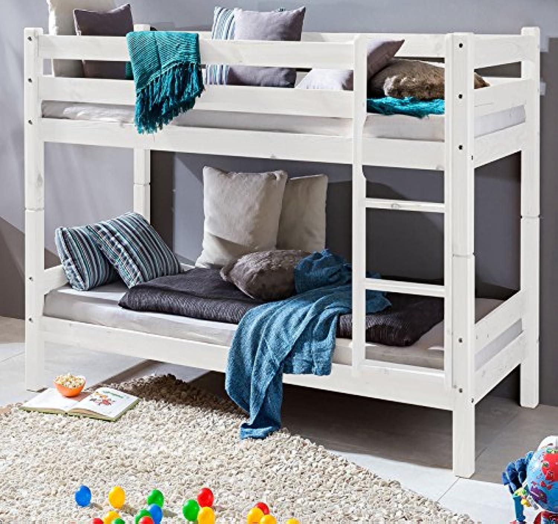 Weiss Kinderbett Etagenbett Massiv Hochbett Spielbett Stockbett 90x200 cm Matratzen geeignet
