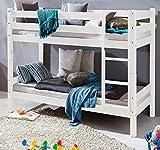 HOMELINE Weiss Kinderbett Etagenbett Massiv Hochbett Spielbett Stockbett 90x200 cm Matratzen geeignet