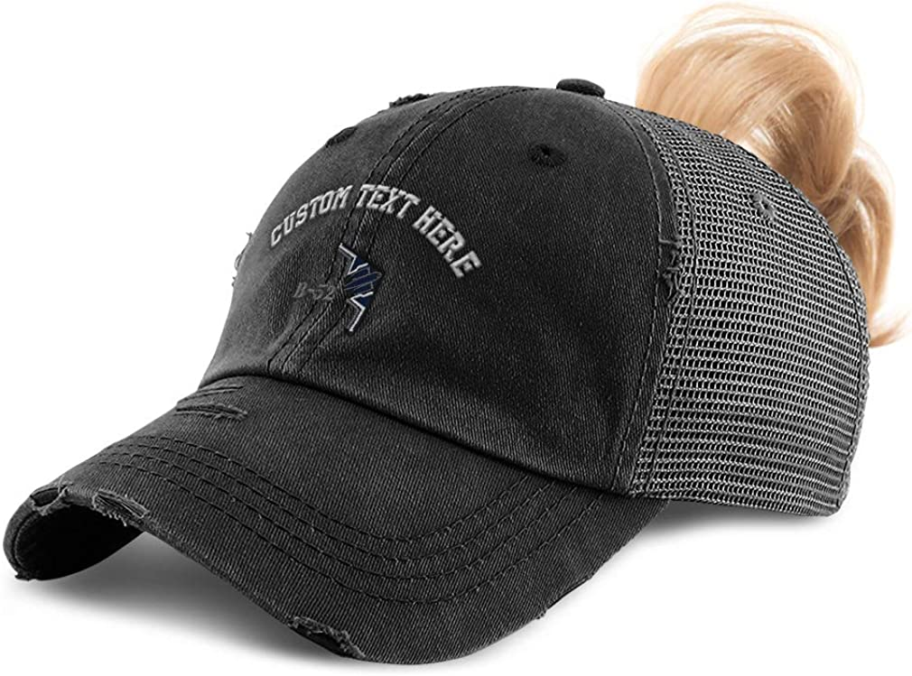Custom Womens Ponytail Cap B-52 Stealth Bomber Name Embroidery Cotton