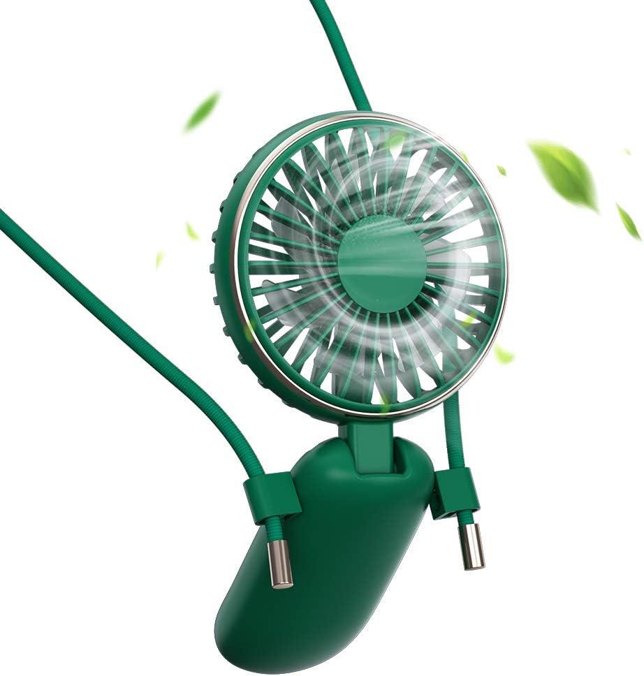 BENKS Mini Ventilator Halskette L/üfter Handventilator Personal Fan Faltbar Desktop USB Ventilator Leise Aufladbarer Batterie 3 einstellbare Geschwindigkeiten f/ür Innen und Reisen Au/ßenbereich Gr/ün
