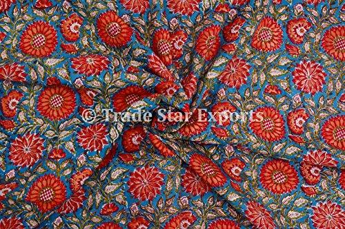 3M indio mano impresión de bloque Tela, 100% algodón gasa Tela de tinte natural para Manualidades, Fabricación de vestido de coser tela por metro, la Pattern 3