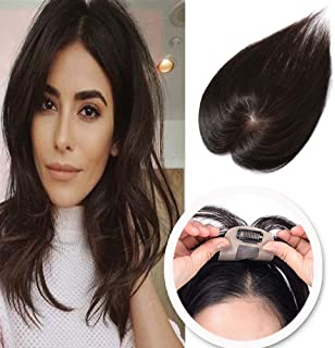 Silk Base Clip in Human Hair Toppers for Women Thin Crown Toupee Clip on Top Hairpiece for Thinning Hair #2 Dark Brown