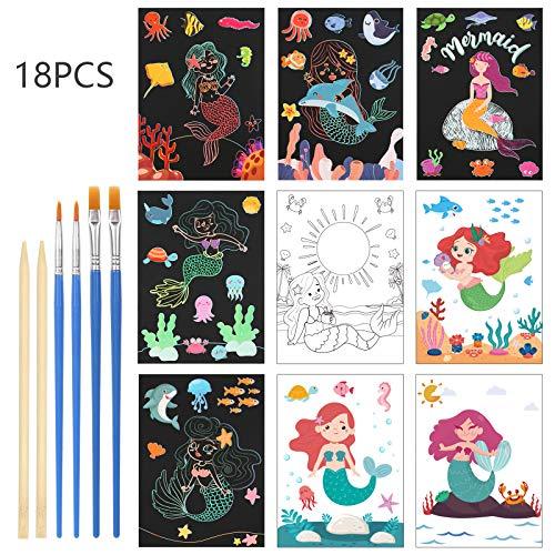 LANMOK 24Stk Kratzbilder Meerjungfrau, Kratzpapier Regenbogen Zeichnen Scratchboard Doppelseitiges Papier zum Kratzen und Färben Kinder Basteln Set für Kindergeburtstag Mitgebsel Geschenk