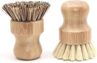 Bamboo Dish Scrub Brush, Kitchen Wooden Cleaning Scrubbers Mini Palm Scrub Brush Kit for Washing Dishes, Cast Iron Skille...