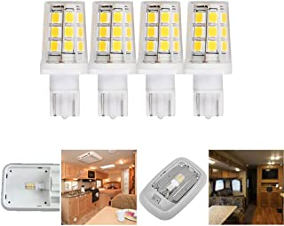12V 24V Low voltage 921 912 replacement LED light bulb T5 T10 wedge 3W 400lm 40W for RV camper travel trailer 5th wheel interior exterior lighting bright white 6000K Pack of 4