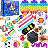 IGINOA 41 Pack Fidget Figetget Sensory Toy Box Set Push Pop Popping Figit Anxiety Autism Stress Relieve Relief Pressure Bubble Silicone Game Gift Special Need Kid Teen Adult Friend ADHD Rainbow