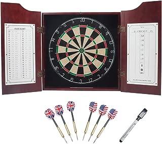 Solid Wood Dartboard Cabinet Set with Bristle Dartboard and 6 Steel Tip Darts (Oak/Mahogany) (Mahogany)