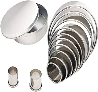 Antallcky Round Cookie Cutter Set-12 Pack Stainless Steel Nest Circle Biscuit Molds Fondant Cake Cookie Cutter Set Pastry ...