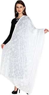 Dupatta Bazaar Woman's Embroidered Chiffon Chunni,Dupatta, Stole with Lace Border