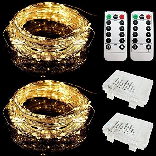 E-Goal 2 Set 10 mètres 100 Micro LEDs Fil d'argent Flexible Piles à Piles étoilées imperméable à l'eau pour la décoration intérieure et extérieure avec 8 Modes télécommande (10m, Blanc Chaud)