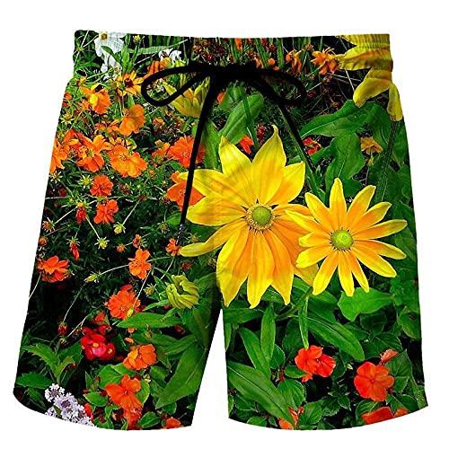 LYWZX Bañador Hombre Pantalones Cortos De Natación para Hombre Tronco De Natación 3D Impresión Flor Gráfico Suelto Quick Drying Summer Beach Shorts Surfing Trunks Beach Trunk 4XL