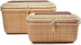 Boîte à bijoux en rotin Boîte de rangement de bureau Panier de rangement Sac à cosmétiques Sac de base en couvercle de noy...