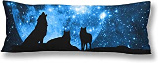InterestPrint Wolf Silhouette Full Moon Body Pillow Covers Pillowcase with Zipper 21x60 Twin Sides, Blue Starred Sky Rectangle Body Pillow Case Protector for Home Couch Sofa Bedding Decorative
