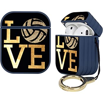 Blue Striated Hard Airpods Case Lightweight Protective Cover with Magnet and Ring Volleyball