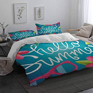 Hello Summer Duvet Cover Set with Invisible Zipper Closure Funky Illustration of Summer Images Colorful Sunglasses and Frangipani Buds with Zipper Closure Multicolor Queen