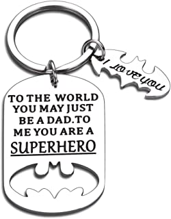 Fathers Day Gift Keychain Daddy Birthday for Step Dad in Law Husband from Daughter Son Wife You are A Superhero I Love You...