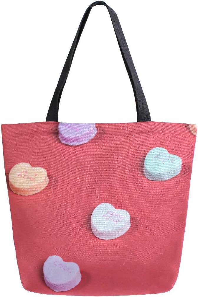 Canvas Tote Bag Handbag Shoulder Bag Large Fashion 1519.7 Inches For Girls Women Candy Hearts