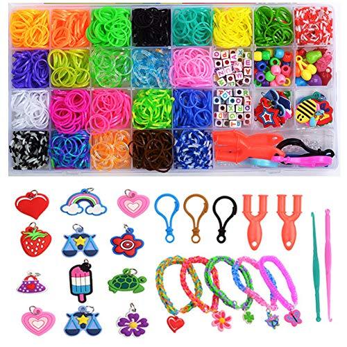SUNSK Braccialetti Elastici Kit Loom Nastri Rainbow Set Braccialetti Fai da Te Collana Strumento di Lavoro a Maglia per Bambini