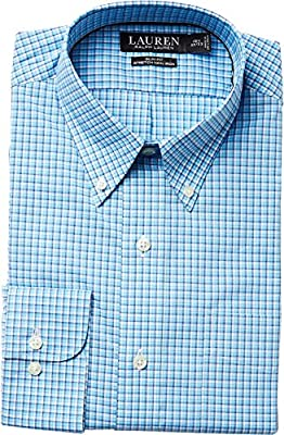 LAUREN Ralph Lauren Mens Slim Fit Non Iron Broadcloth Plaid Button Down Collar Dress Shirt
