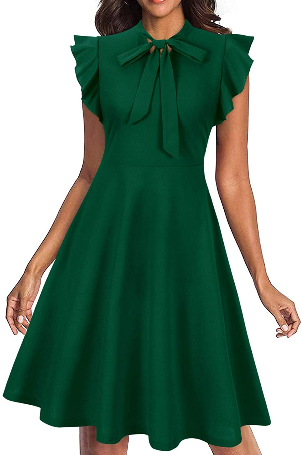 Moyabo Women's Tie Neck Vintage Ruffle Sleeveless A Line Swing Casual Cocktail Party Dresses