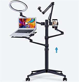 """JINSUO Floor Live Stand Set 5-in-1 with 10"""" L.E.D Ring Light Microphone Mount Laptop Stand Phone Tablet Holder For Makeup ..."""