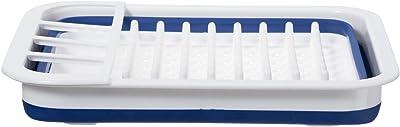 Estante plegable OGGI para secar platos – Se pliega y se pliega para un fácil almacenamiento. Color: azul y blanco.